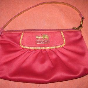 Pink Sateen Coach Wristlet